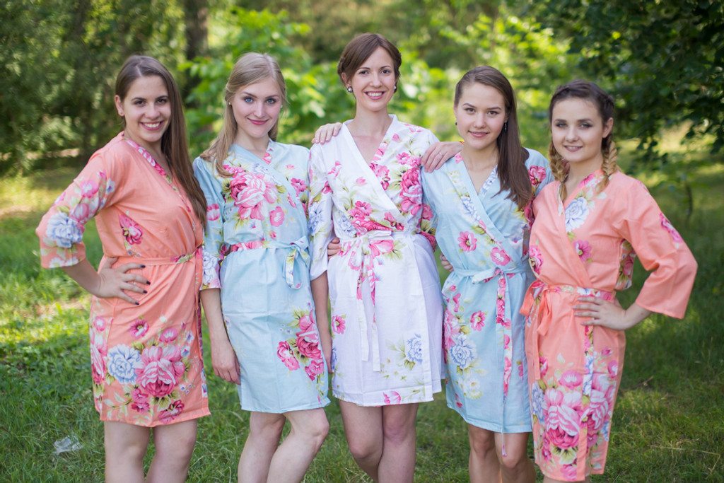 Peach and Light Blue Bridal Party Robes