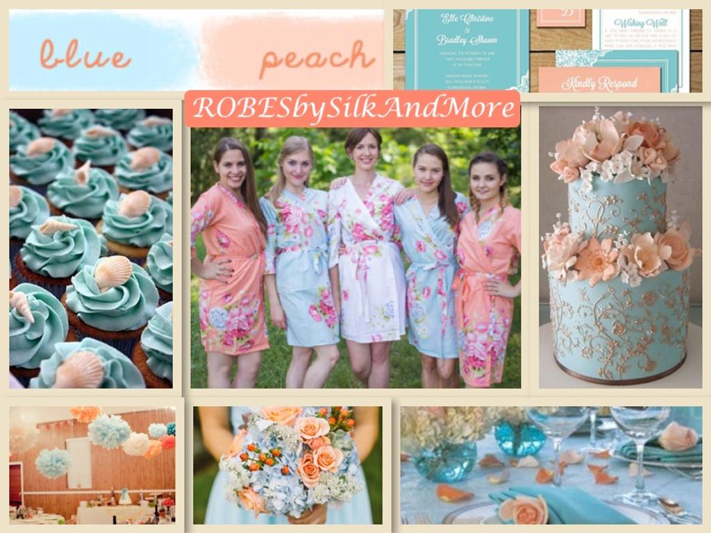 Peach and Light Blue Wedding Robes
