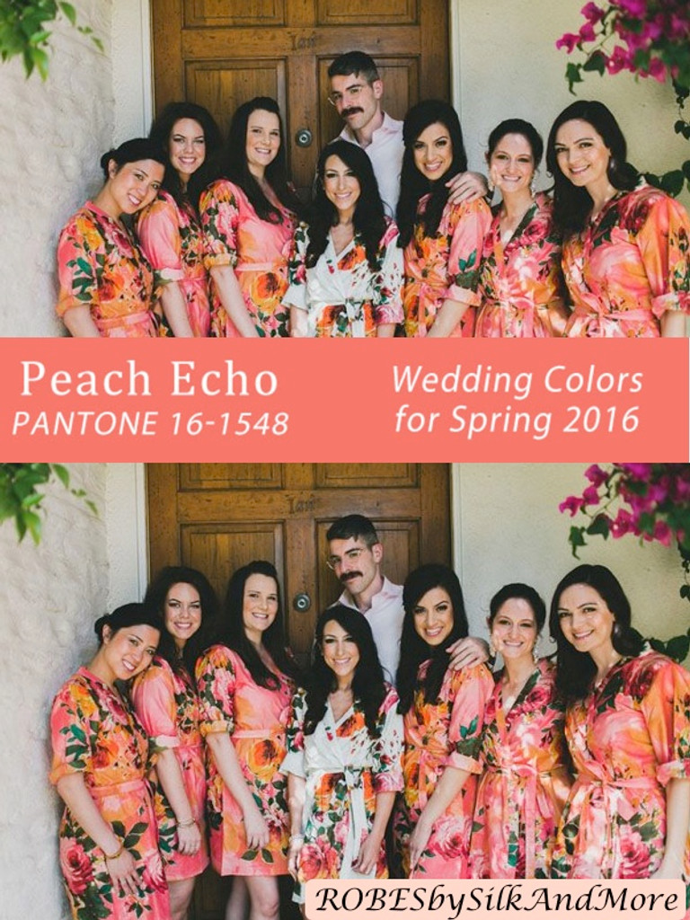 Peach Echo Bridesmaids Robes | Pantone Spring 2016 Colors