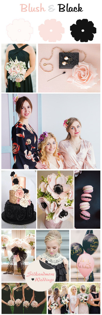 Black and Blush Wedding Color Robes