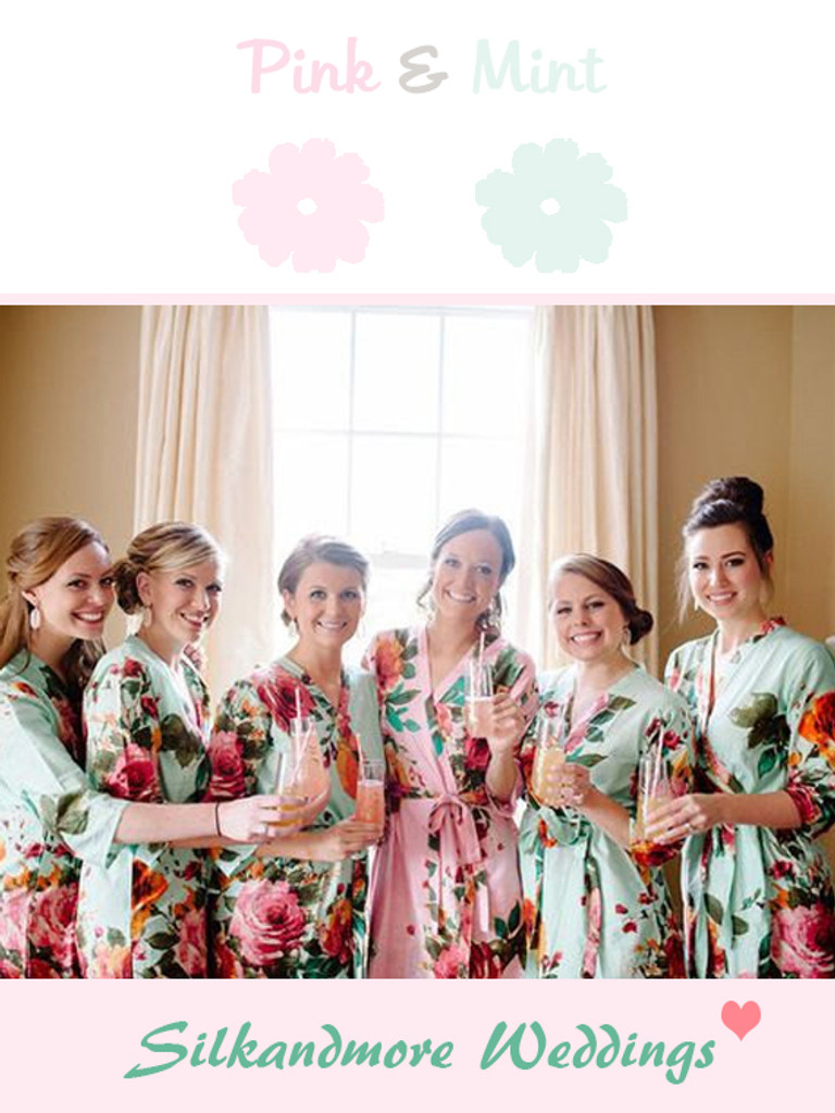 Mint and Soft Pink Wedding Color Robes