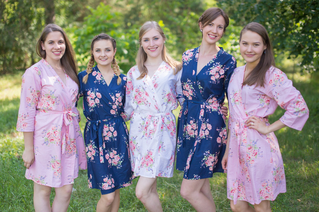 Pink and Navy Wedding Color Robes