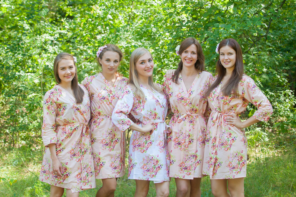 Blush Pink Floral Posy Robes for bridesmaids | Getting Ready Bridal Robes