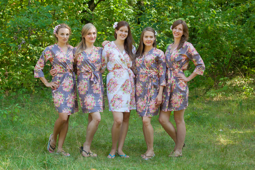 Charcoal Gray Floral Posy Robes For Bridesmaids