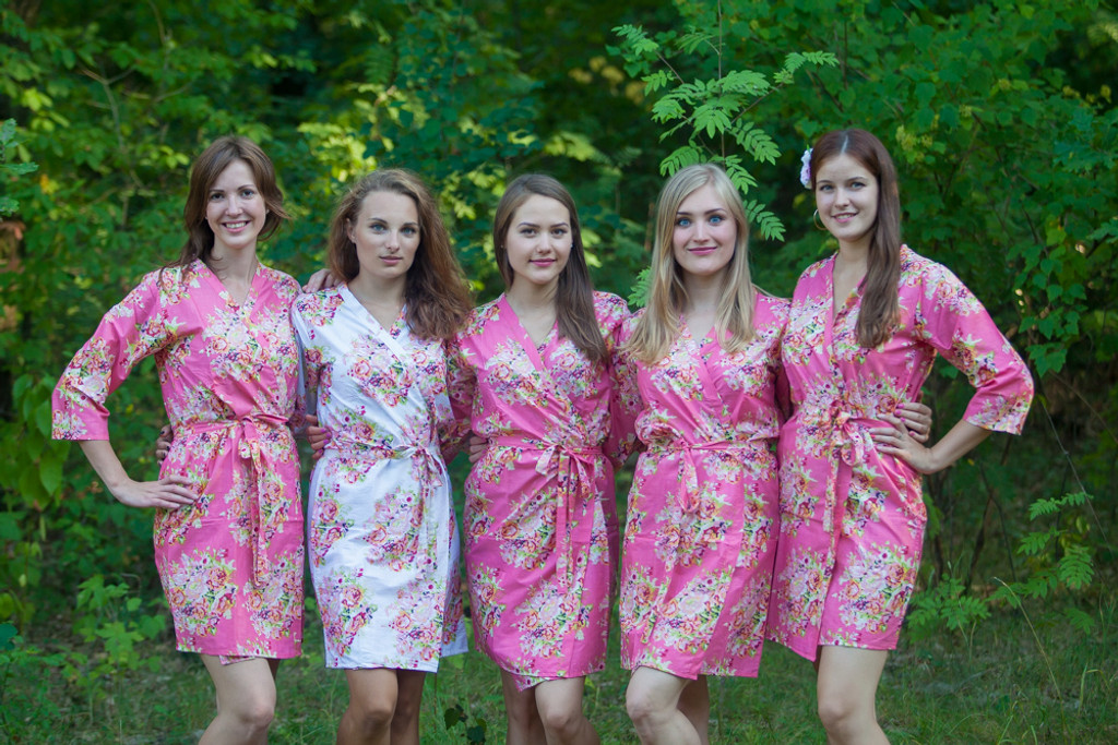Rouge Pink Floral Posy Robes For Bridesmaids