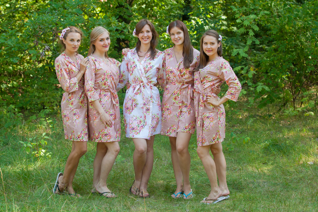 Rose Gold Floral Posy Robes For Bridesmaids