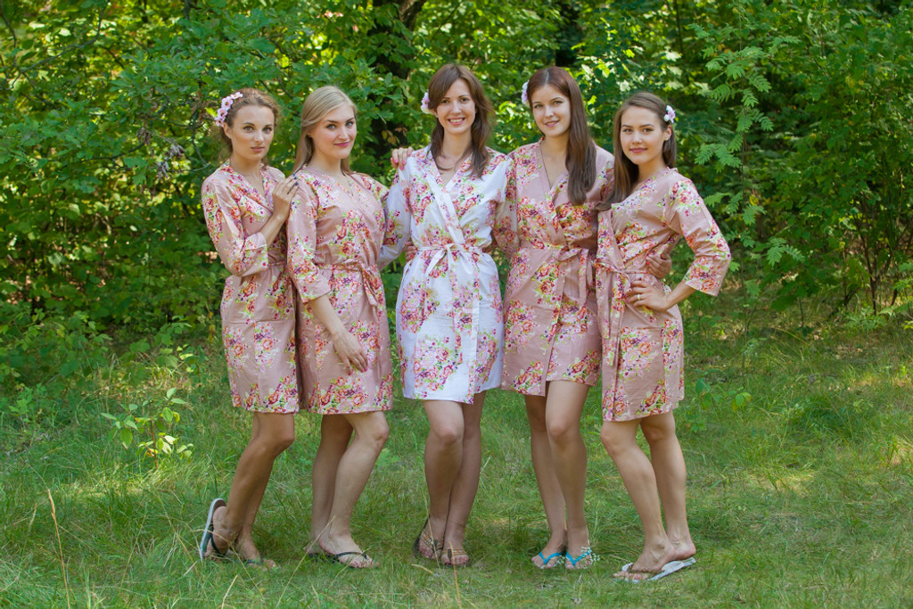 Rose Gold Floral Posy Robes for bridesmaids   Getting Ready Bridal Robes