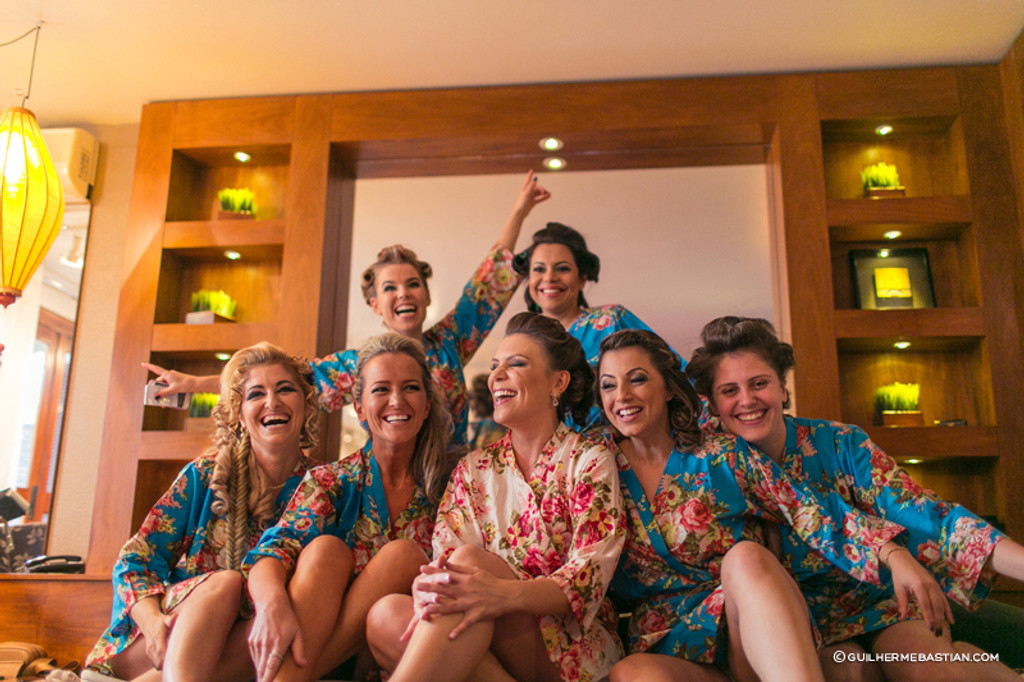 Blue Rosy Red Posy Robes for bridesmaids