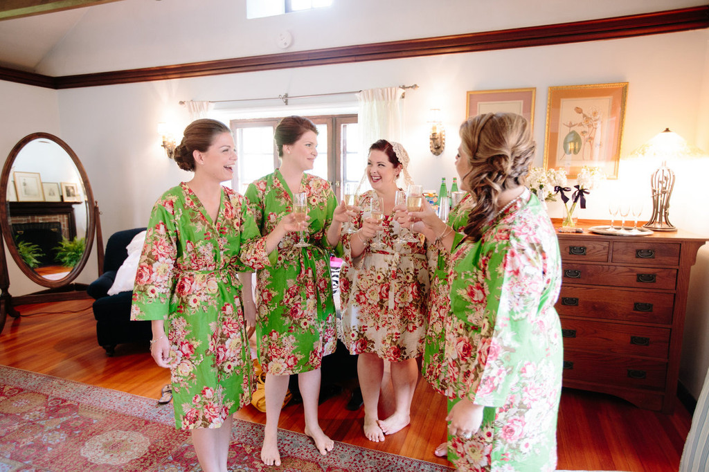 Green Rosy Red Posy Robes for bridesmaids