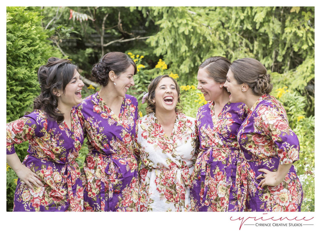 Purple Rosy Red Posy Robes for bridesmaids