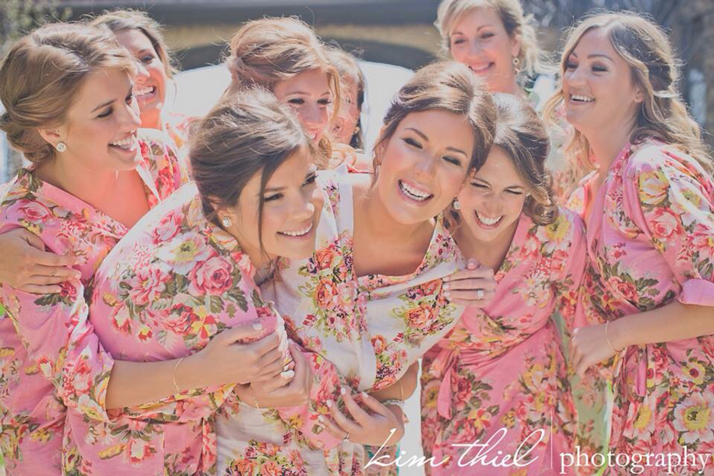 Dark Pink Rosy Red Posy Robes for bridesmaids