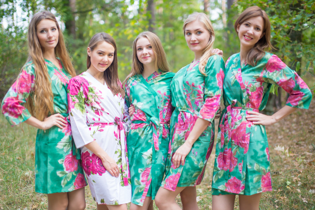 Emerald Green Large Fuchsia Floral Blossoms Robes for bridesmaids | Getting Ready Bridesmaids Robes