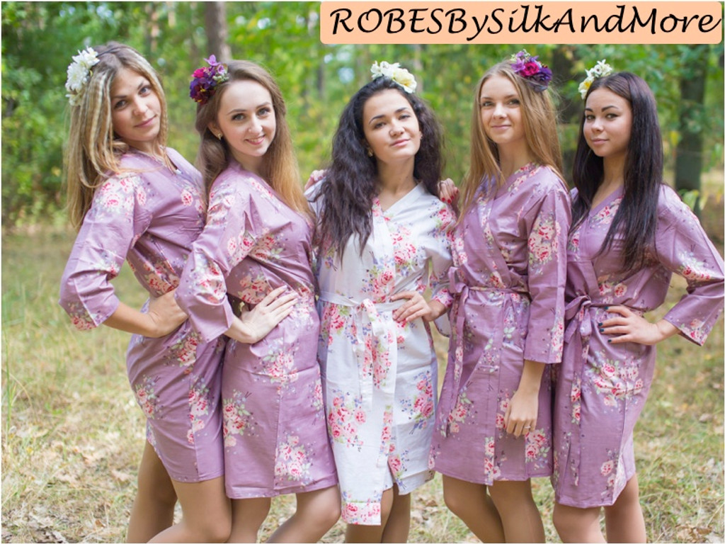 Amethyst Purple Faded Floral Robes For Bridesmaids Robes By Silkandmore