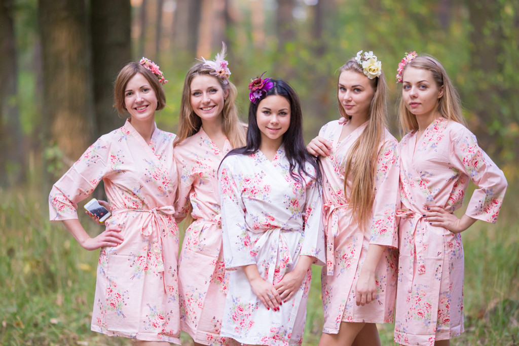 Blush Pink Faded Floral Robes for bridesmaids