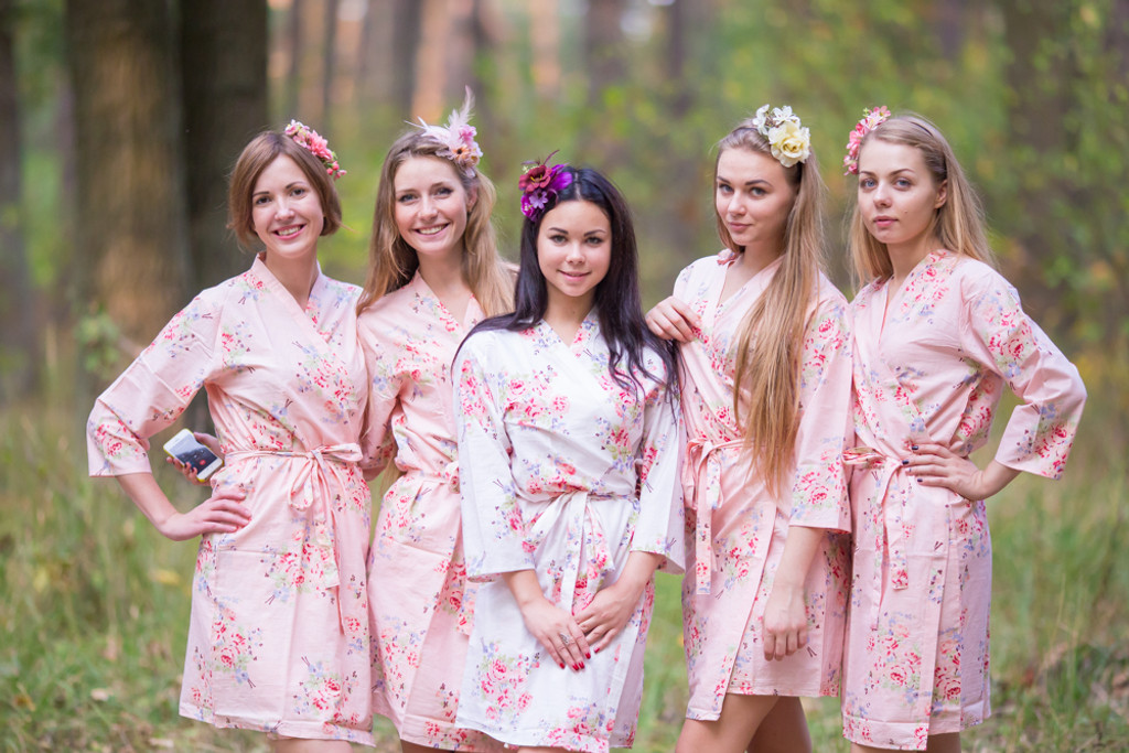 Blush Neutral Faded Floral Robes for bridesmaids