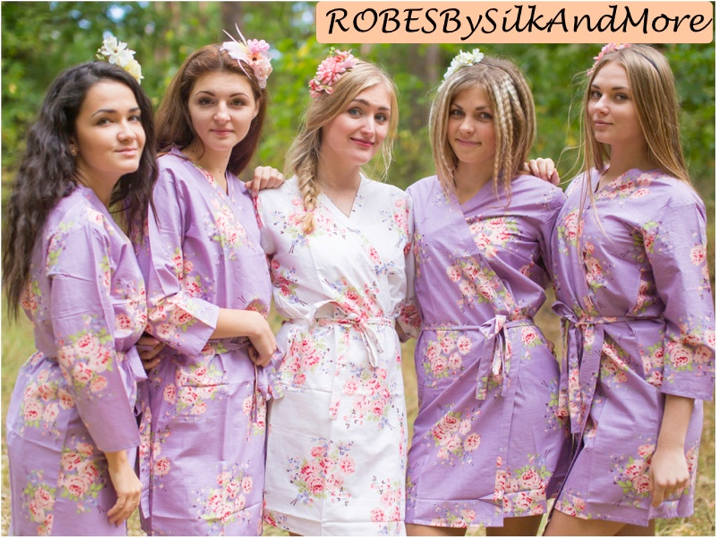 Dusty Purple Faded Floral Robes For Bridesmaids Robes By Silkandmore