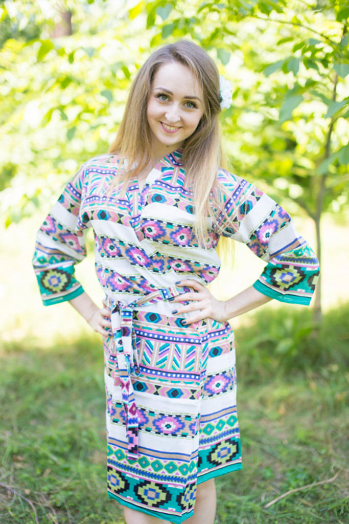 White Green Aztec Geometric Robes for bridesmaids | Getting Ready Bridal Robes