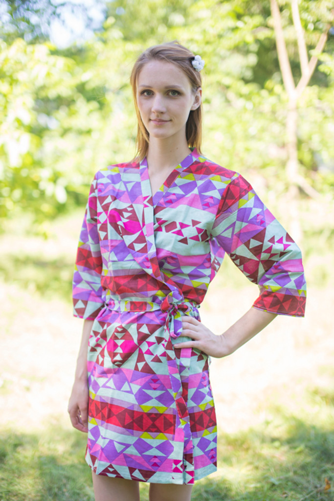 Mint Diamond Aztec Robes for bridesmaids | Getting Ready Bridal Robes