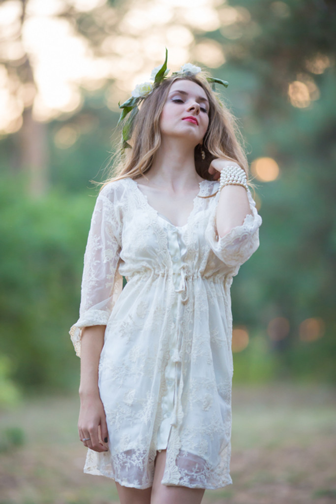 Oh Angelina Ivory Floral Lace Bridal Robe