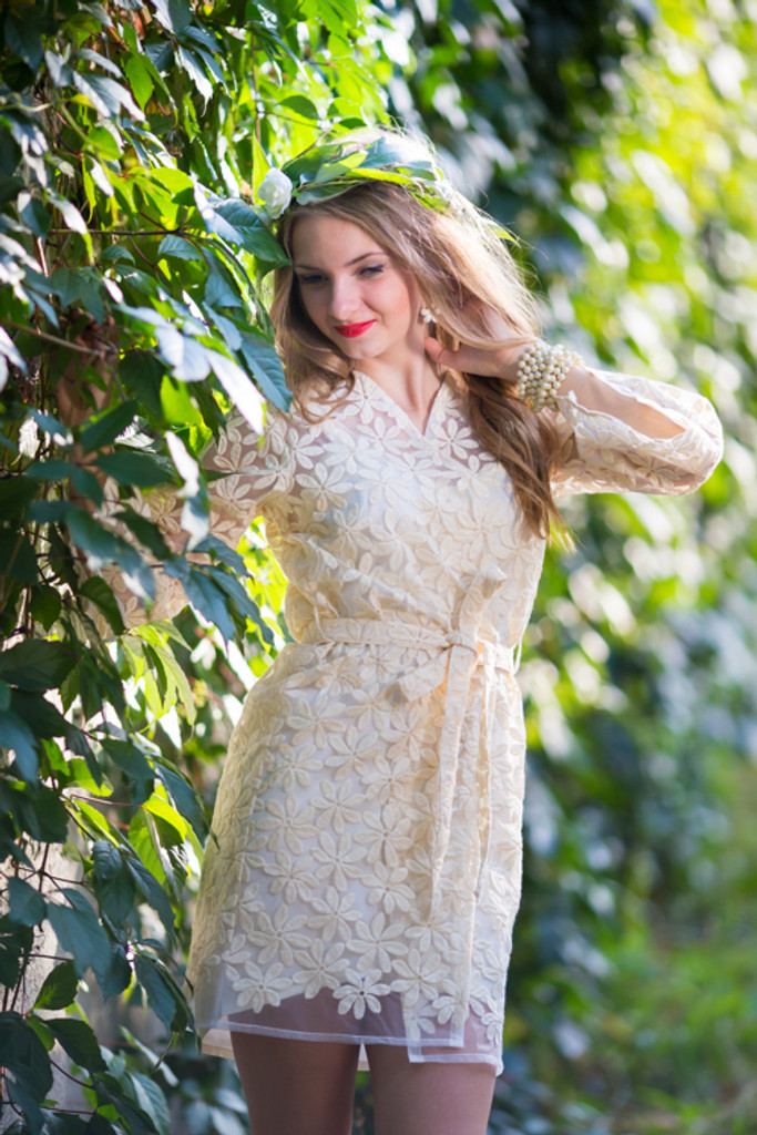 Oh Flora Ivory Floral Lace Bridal Robe