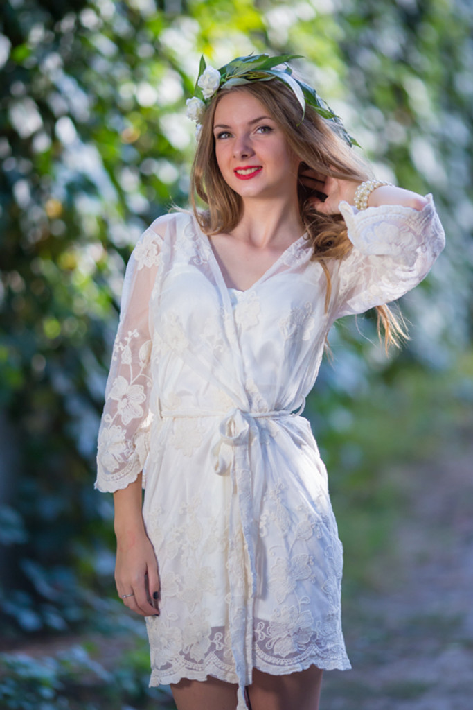 Oh Heather White Scalloped Lace Bridal Robe