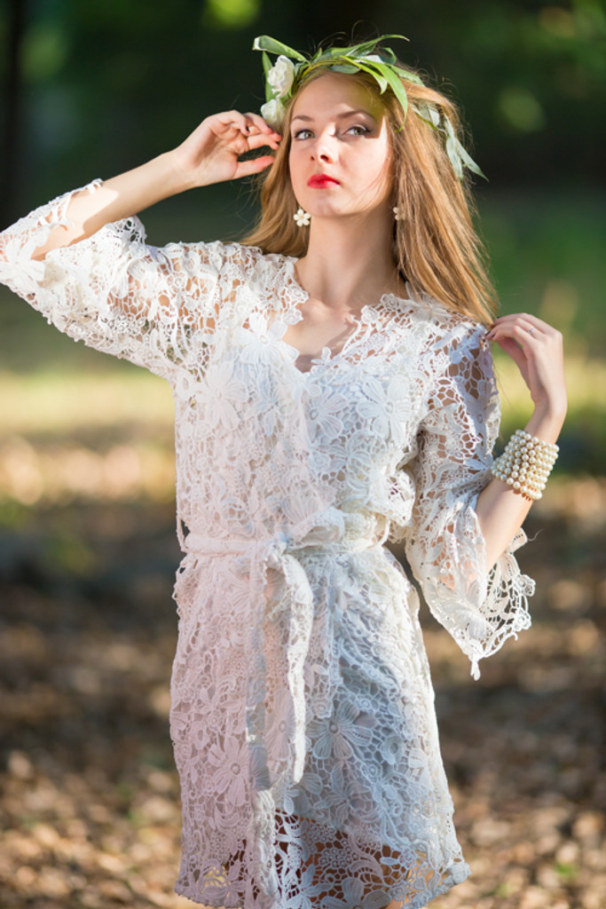 Oh Olivia White Floral Lace Bridal Robe