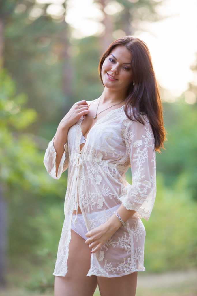 Oh Angelina Ivory Floral Lace Bridal Boudoir Robe