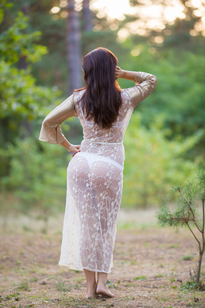 Oh Nora Ivory Glittery Lace Bridal Boudoir Robe
