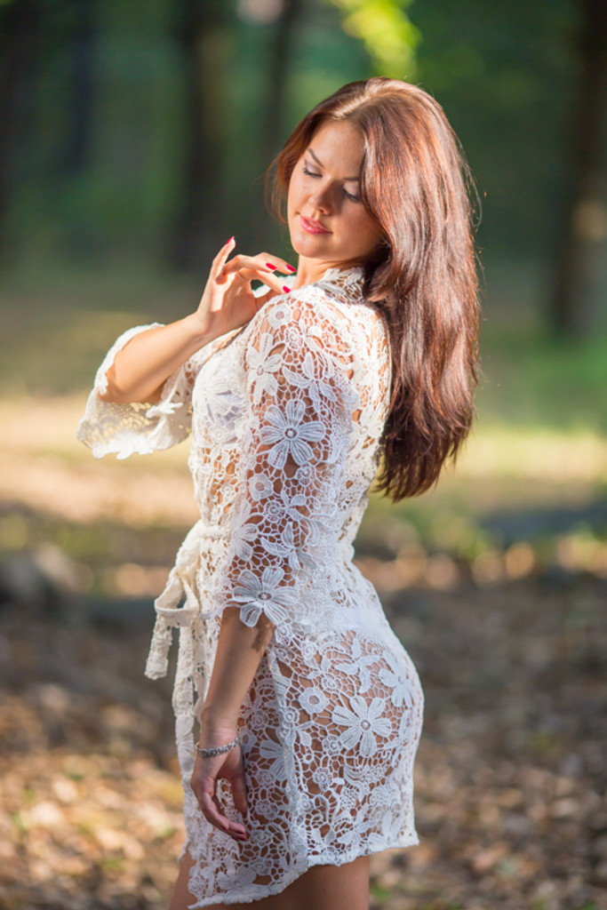 Oh Olivia White Floral Lace Bridal Boudoir Robe