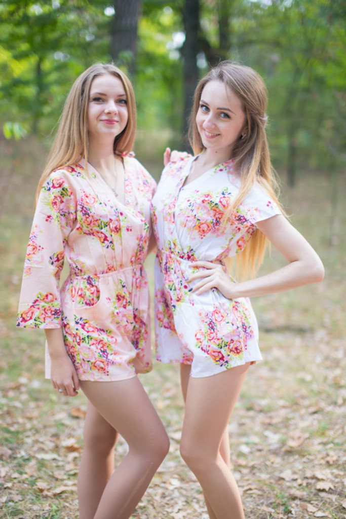 Crossover Style Bridesmaid Rompers in Floral Posy Pattern