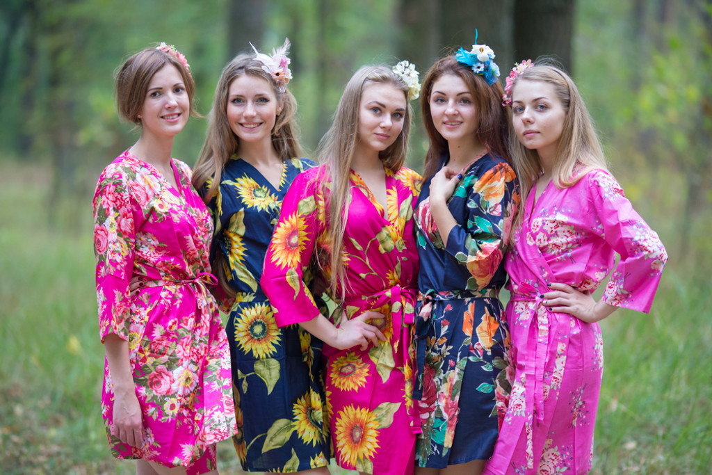 Navy Blue, Fuchsia Pink and Magenta Wedding Color Robes