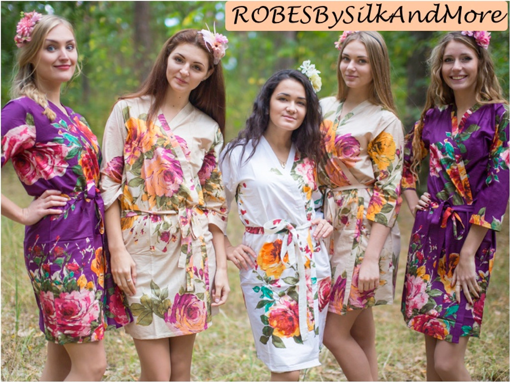 Eggplant and Beige Wedding Color Robes