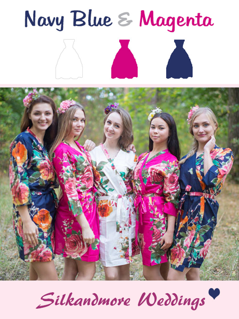 Navy Blue and Magenta Wedding Color Robes
