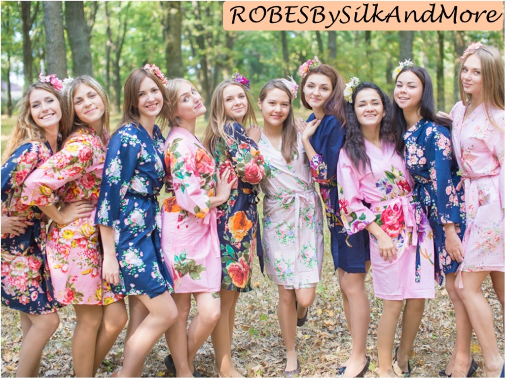 Navy Blue, Pink and Blush Wedding Color Robes