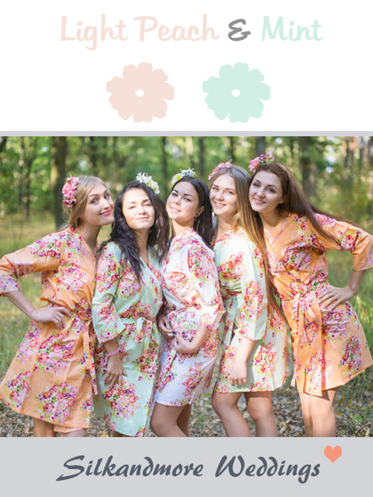 Peach & Mint Wedding Color Robes