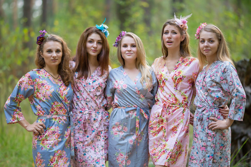 Gray and Pink Wedding Color Robes