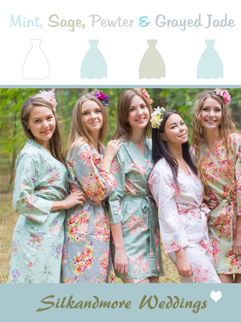 Assorted Grayed Jade   SilkandMore Robes
