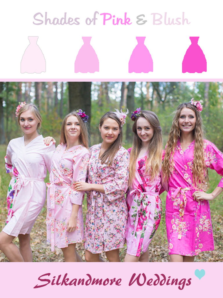 Pink and Fuchsia Wedding Color Robes