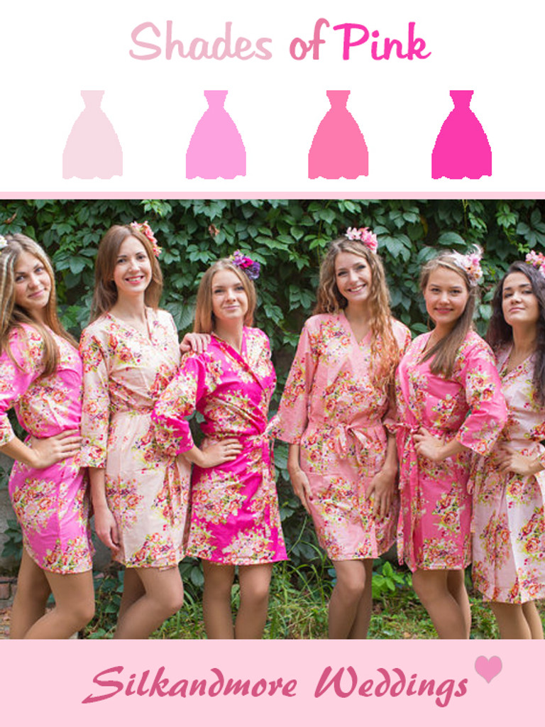 Shades Of Pink Wedding Color Robes Robes By Silkandmore