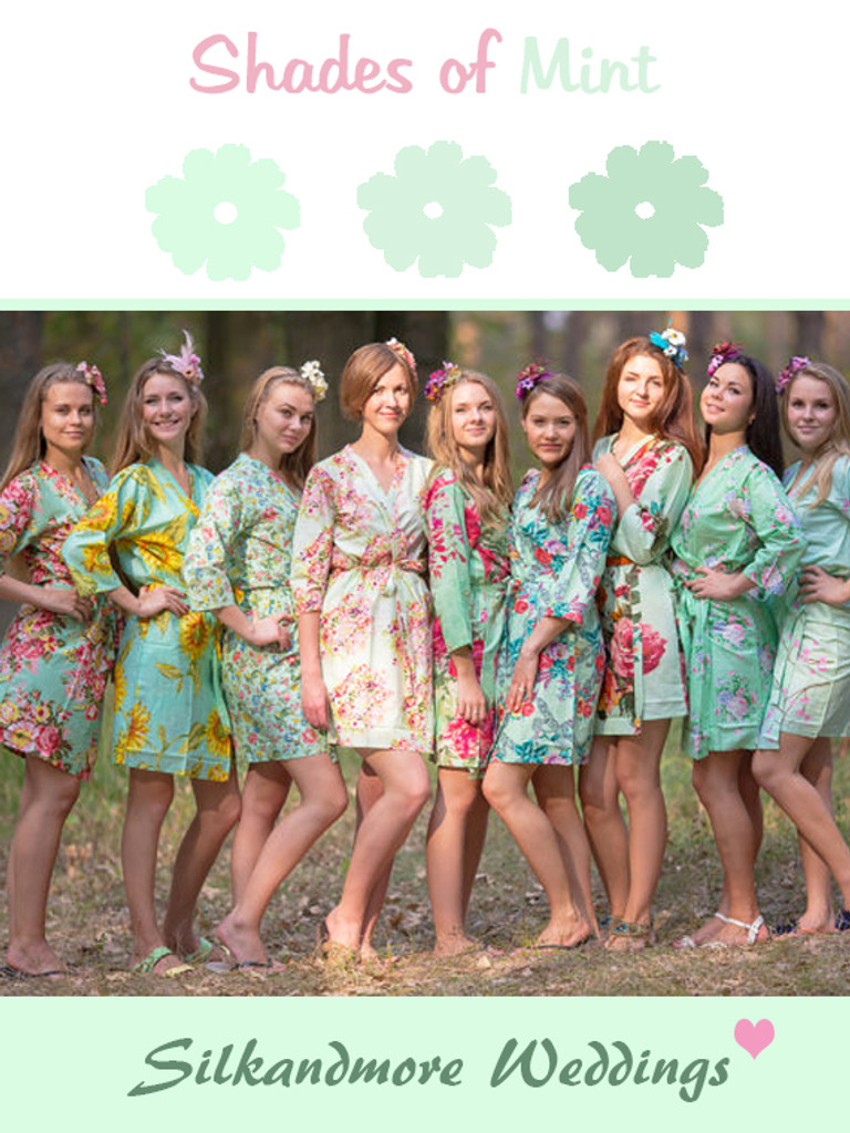 Assorted Shades of Mint | SilkandMore Robes