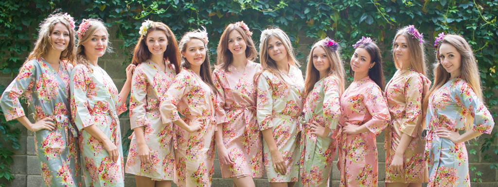 Mismatched Floral Posy Robes in soft tones