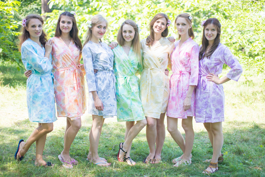 Mismatched Large Ombre Fading Leaves Robes in soft tones