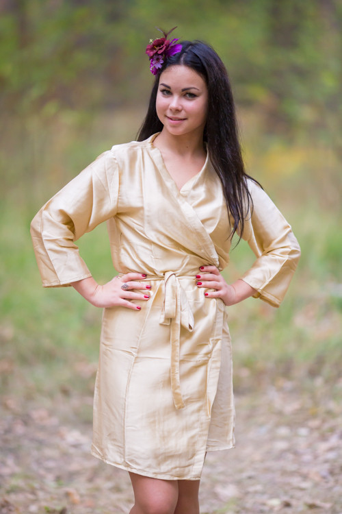 Plain Silk Robes for bridesmaids - Solid Champagne Color   Getting Ready Bridal Robes