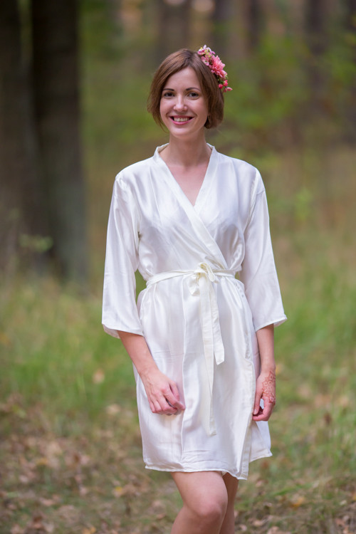 Plain Silk Robes for bridesmaids - Solid Ivory Color | Getting Ready Bridal Robes