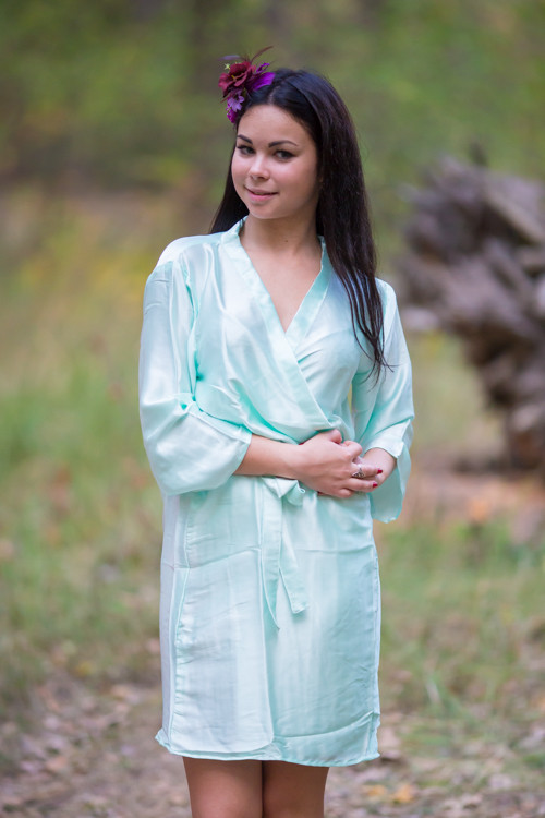 Plain Silk Robes for bridesmaids - Solid Mint Color | Getting Ready Bridal Robes