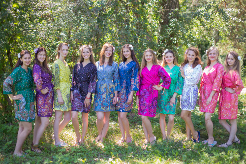 Mismatched Abstract Floral Robes in bright tones