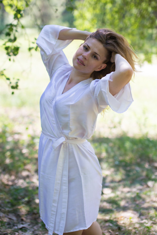 Plain Silk Robes for bridesmaids - Solid White Color | Getting Ready Bridal Robes