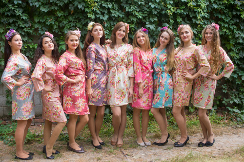 Mismatched Floral Posy Robes in bright tones