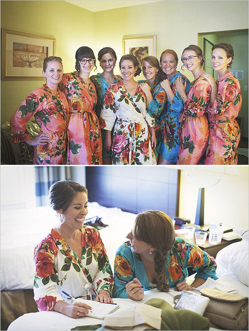 Mismatched Large Floral Blossom8 Robes in bright tones