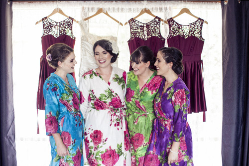 Mismatched Large Fuchsia Floral Blossom4 Robes in bright tones